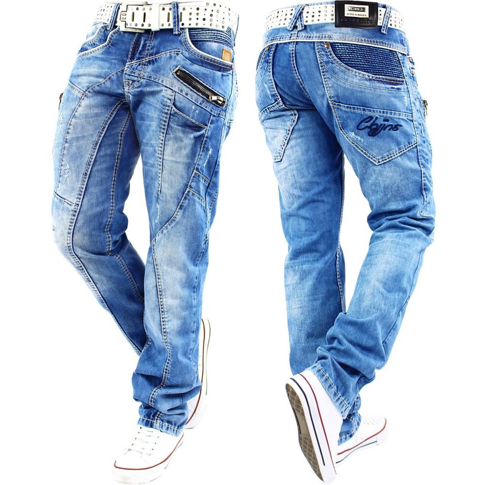 neueste art 2019 rabatt verkauf hoch gelobt Cipo & Baxx Herren Jeans Verwaschen Ziernähte Clubwear Vintage Chino Hose  Blau (W34/L34)