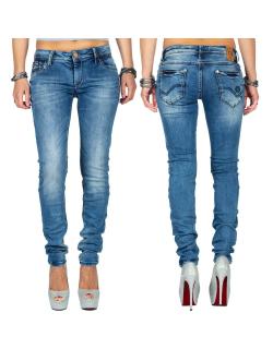 Cipo & Baxx Damen Jeans WD344 Blau W30/L32
