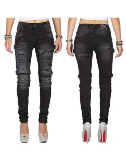 Cipo & Baxx Damen Jeans WD383 Schwarz W28/L32